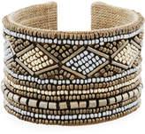 Nakamol Wide Mixed Seed Bead Cuff Bracelet
