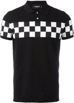 DSQUARED2 checkerboard panel polo shirt - men - Cotton - M