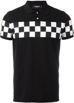 DSQUARED2 checkerboard panel polo shirt