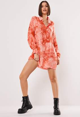 Missguided Pink Tie Dye Oversized Shirt Dress