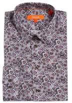Tallia Orange Floral Cotton Dress Shirt