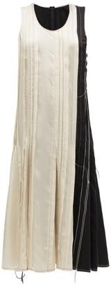 Joseph Dea Raw-edge Satin-pleat Dress - Womens - Beige Black