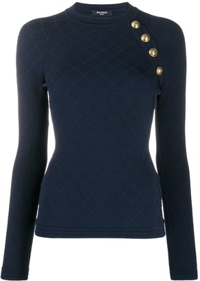 Balmain Embossed Buttons Knitted Jumper