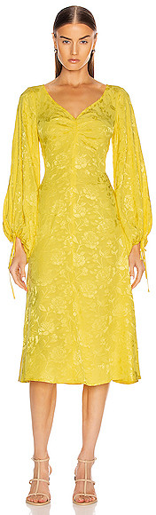STAUD Sofia Dress in Floral,Yellow