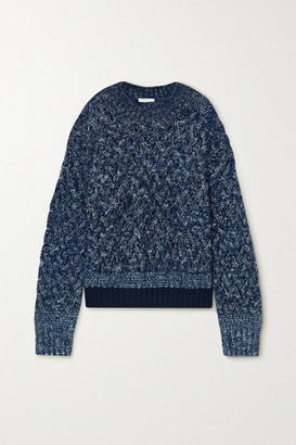 Chloé Cable-knit Melange Wool-blend Sweater - Navy
