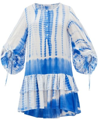 Binetti Love Only Yesterday Tie-dye Cotton Mini Dress - Womens - Blue Print