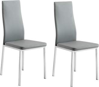 Argos Home Tia Pair of Chrome and Grey Dining Chairs