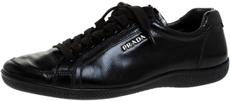Prada Sport Black Leather Lace up Sneakers Size 38