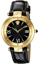 Versace Women's 'REVE' Swiss Quartz Stainless Steel and Leather Casual Watch, Color:Black (Model: VAI020016)