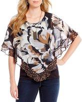 I.N. Studio Ruffle Sleeve Cheetah-Floral Print Top