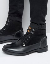Original Penguin Original Peguin Lace Up Boots In Black Leather