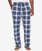 Nautica Men's Indigo Plaid Lightweight Sueded Fleece Pajama Pant