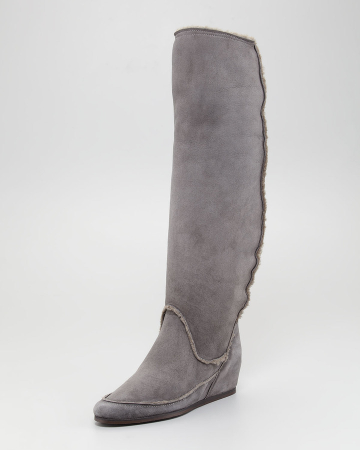 Lanvin Shearling Hidden-Wedge Boot