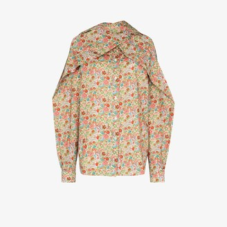 Y/Project Scarf-Neck Floral-Print Blouse
