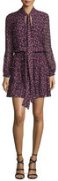 Alexis Elida Long-Sleeve Tie-Neck Printed Silk Dress, Plum