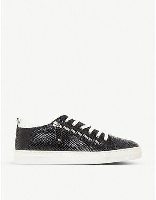 Dune Elicia zipped leather low-top trainers