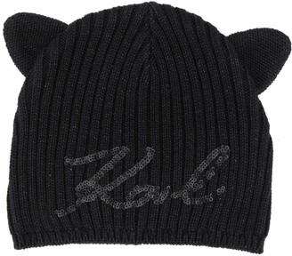 Karl Lagerfeld Paris Sequinned Logo Beanie Hat