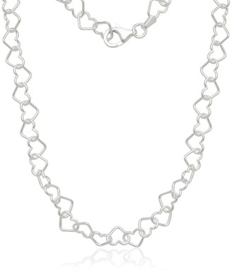Curata White Italian Sterling Silver Interlocking Heart Chain Necklace