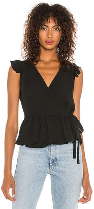 1 STATE Ruffle Sleeve Wrap Front Blouse
