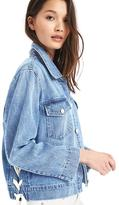 Short tie icon denim jacket