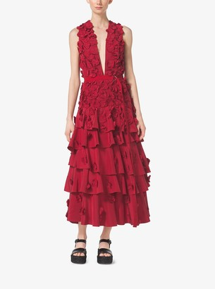 Michael Kors Collection Floral-Embroidered Washed-Faille Dress