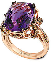 LeVian 14K Rose Gold Amethyst and Diamond Ring