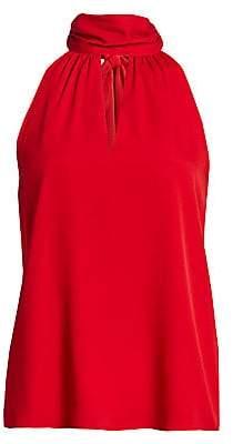 Milly Women's Emma Silk Choker-Neck Tie Top