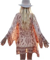 Latin Womens Printed Beachwear Summer Chiffon Swimsuit Cover Up Sun Protection Clothing (S)