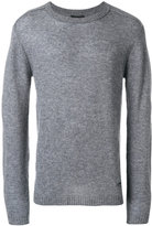 Emporio Armani ribbed trim logo pin jumper