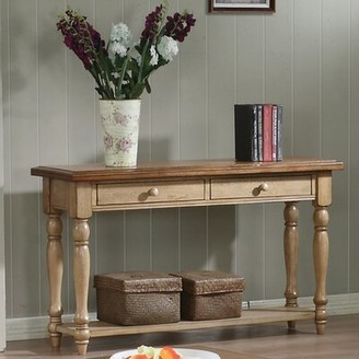 """Three Posts Courtdale 50"""" Solid Wood Console Table Color: Almond & Wheat"""