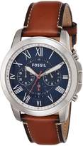 Fossil Men's 44mm Brown Leather Band Steel Case Quartz Dial Analog Watch FS5210