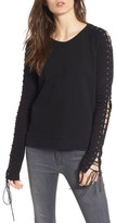 Pam & Gela Women's Lace-Up Sleeve Sweatshirt