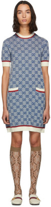 Gucci Blue Knit GG Dress