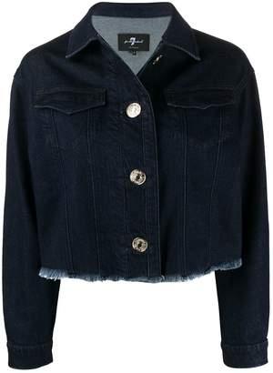 7 For All Mankind Frayed-Hem Cropped Denim Jacket