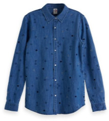 Scotch & Soda All Over Embroidered Western Shirt - xsmall - Blue