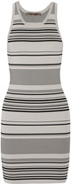 Halston Striped stretch-knit mini dress