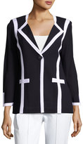 Misook Contrast-Trim Knit Jacket, Blue/White