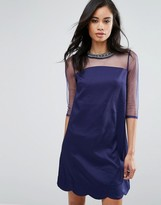Little Mistress Shift Dress With Mesh Sleeves And Embellished Neckline