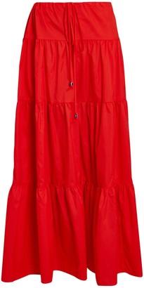 STAUD Lucca Tiered Midi Skirt