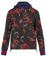 Gucci Space Snake-print Detachable-hood Jacket