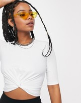 Noisy May twist front t-shirt in white