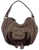 Sonia Rykiel Fur-Trimmed Tweed Bag