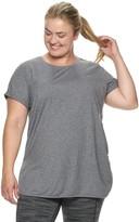 Tek Gear Plus Size Rolled Sleeve High Slit Tunic Tee