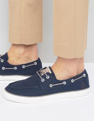 Original Penguin Canvas Boat Shoes-Blue