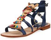 Kate Spade Sahara Embellished Flat Gladiator Sandal, Navy