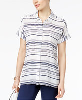 Alfani Striped Cuffed Blouse, Only at Macy's