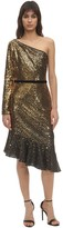 Marchesa Sequined One Shoulder Midi Dress