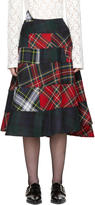 Comme des Garcons Red and Green Tartan Mix Skirt