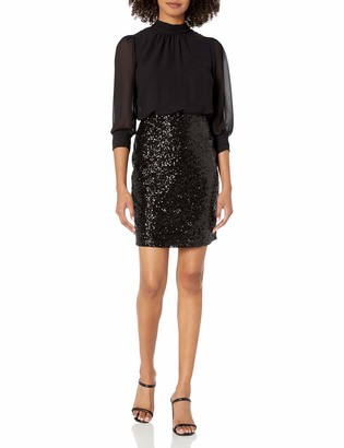 Bebe Women's 2-fer Dress with Sequin Skirt and Chiffon Long Sleeve Top