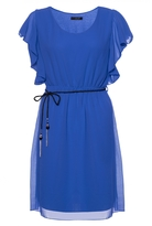 Quiz Royal Blue Chiffon Frill Sleeve Belted Tunic Dress